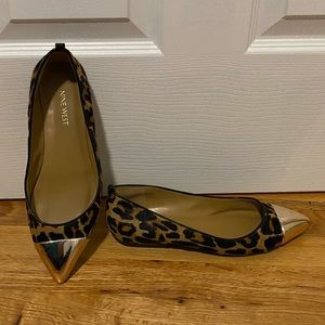 Pointy toe leopard with gold toe flat